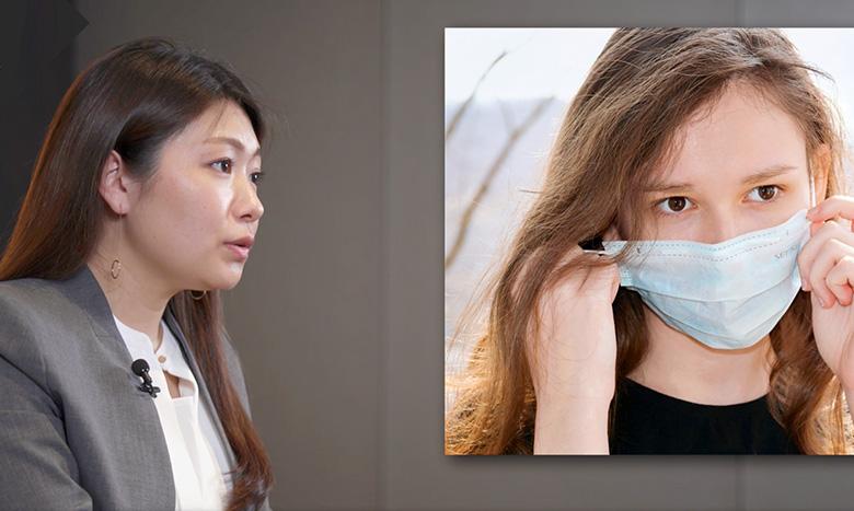 マスク着用のイメージ画像とアナウンサー画像