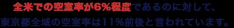 全米での空室率が6%程度であるのに対して、東京都全域の空室率は11%前後と言われています。